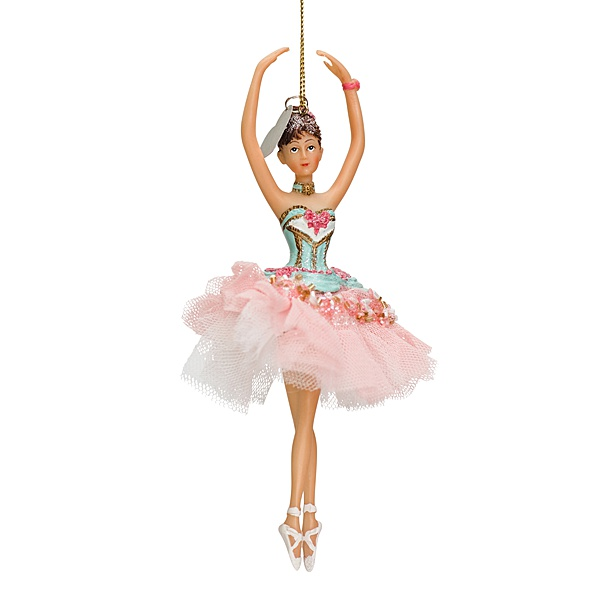 hanging ballerina figurine with pink tutu and blue top