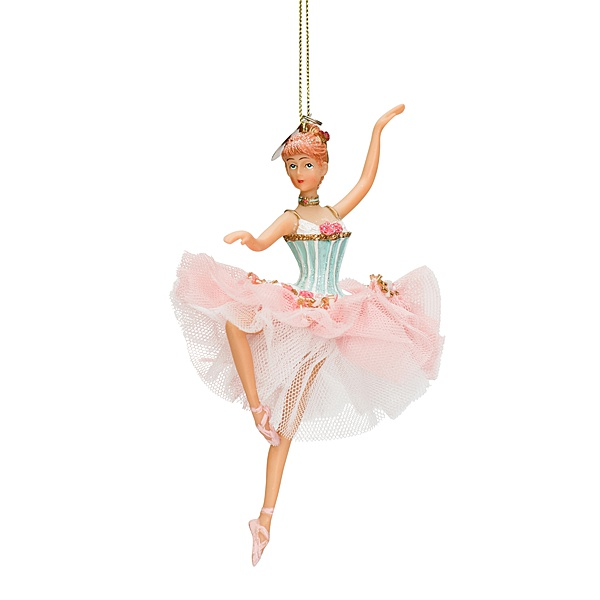 ballerina ornament with pink and white tulle tutu blue top and left arm in the air red hair
