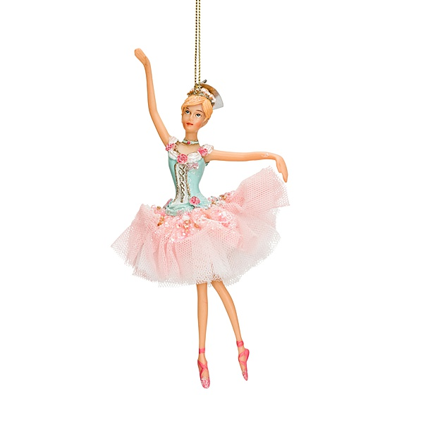 pink ballet ornament right arm up pink and white tutu and blue top