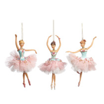 Set of 3 ballerina ornaments with pink tutu and blue top