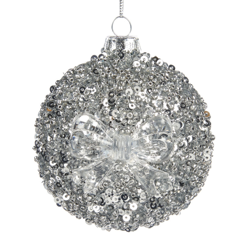 glass silver sequin covered disc shaped CHristmas decoration