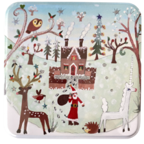 medium christmas tin house and unicorn