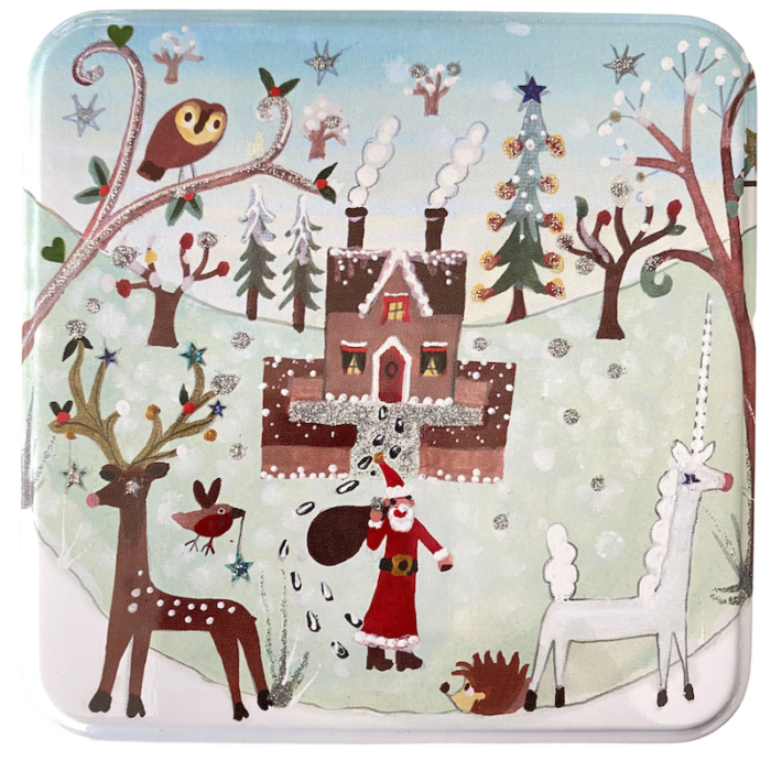 medium christmas tin house and unicorn