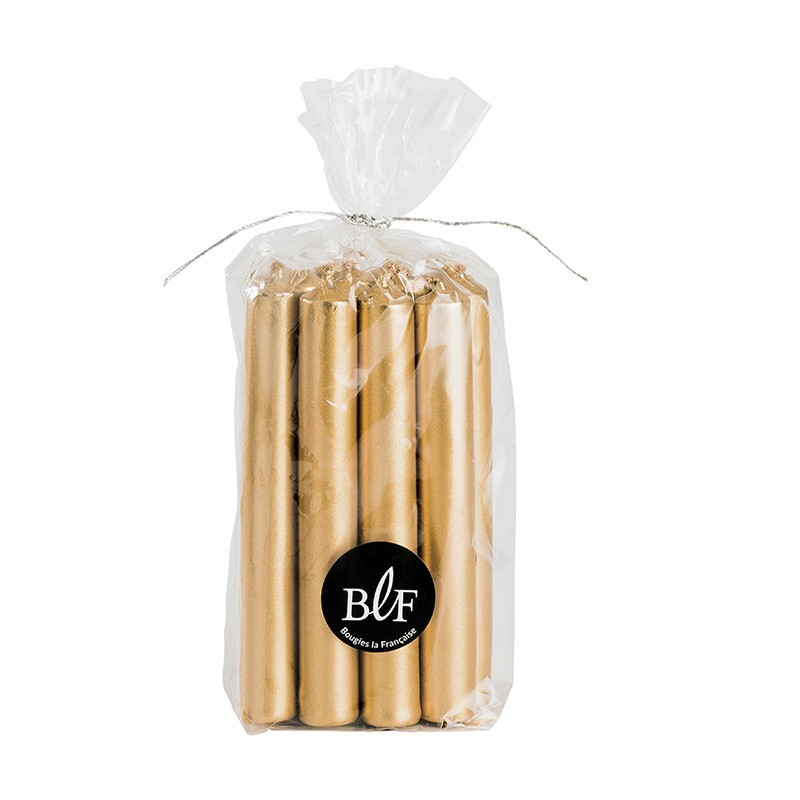 bag of 13 mini gold candles 10.5cm