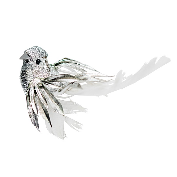 single silver clip on bird Christmas decoration with white feathered tail
