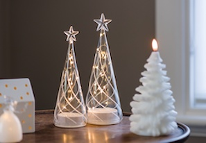 two LED glass cone trees and tree candle