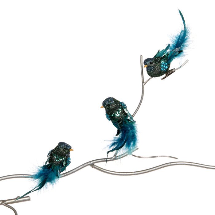 turquoise clip on birds set of three on branch