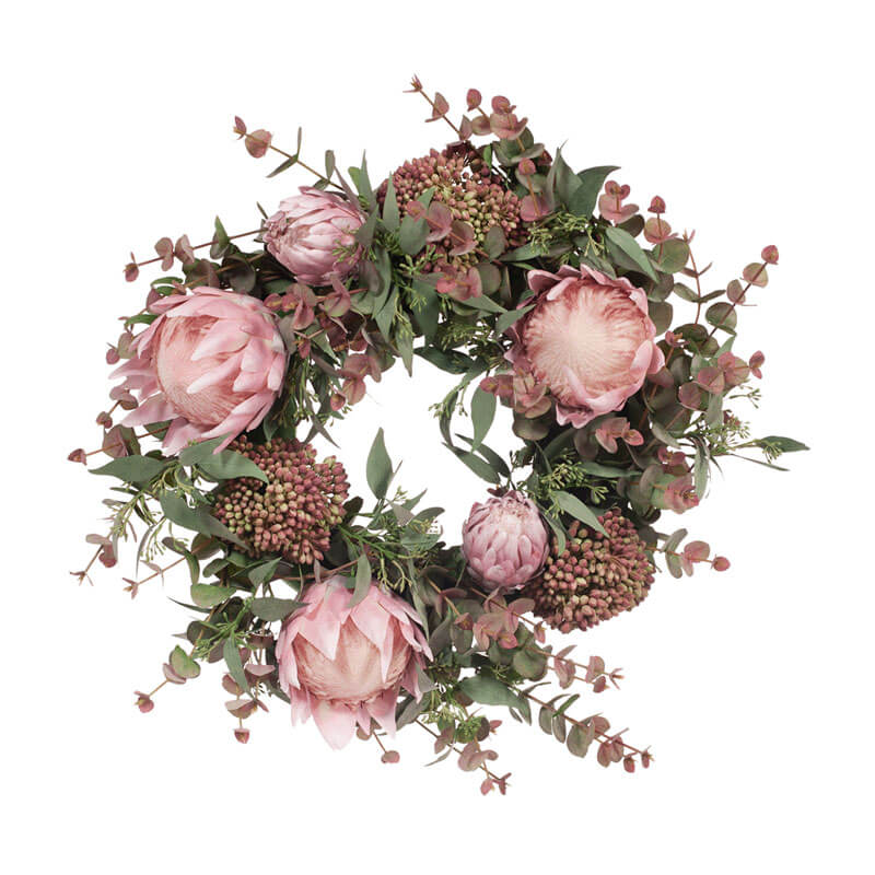 Australian-pink-grey-christmas-wreath 53cm