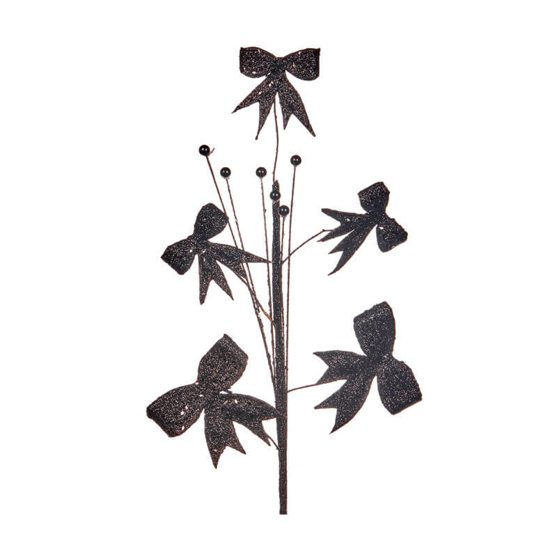glittered black bow pick 53cm