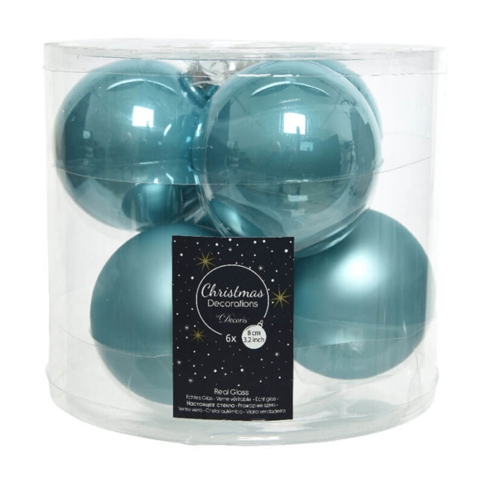 artic blue glass baubles 8cm diameter 6 per pack