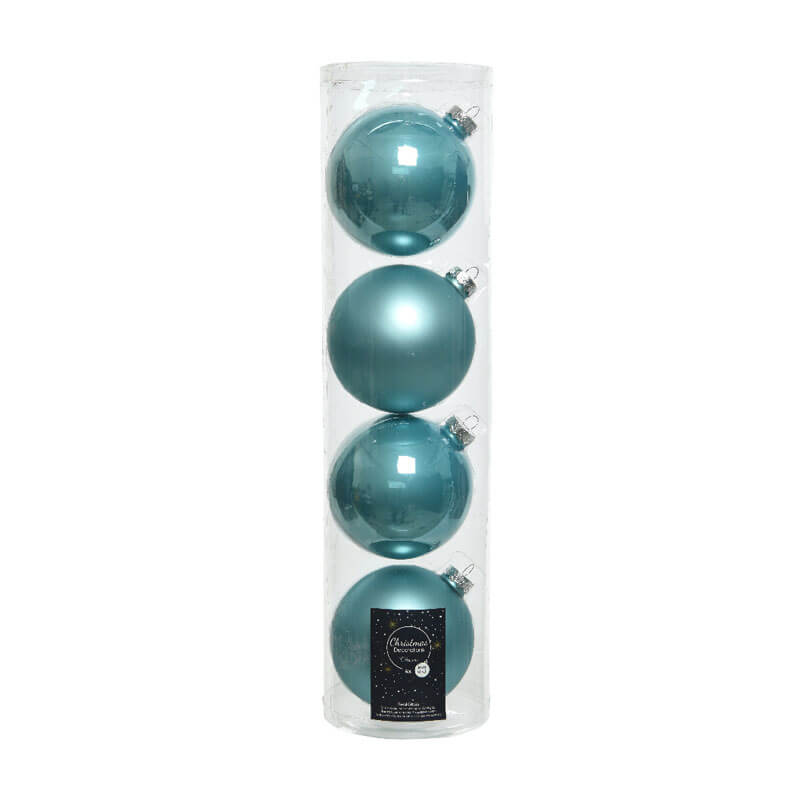 blue glass baubles 10cm 4 per pack