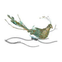 40cm clip on turquoise and gold glittered bird
