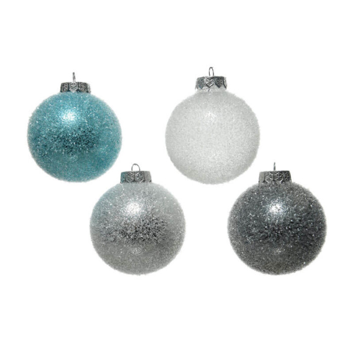 set of 4 blue white and grey 8cm shatterproof baubles witha textured finish