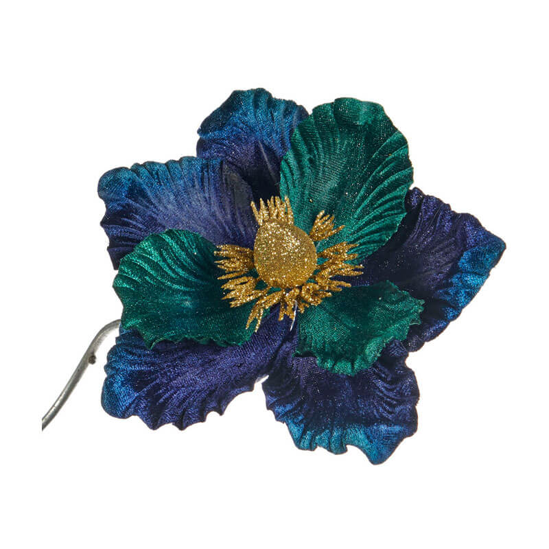 Blue-emerald-green-Flower-on-clip-purely-christmas-FL18119
