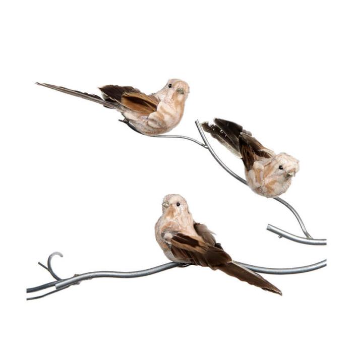 set of 3 cream brown clip on bird decorations