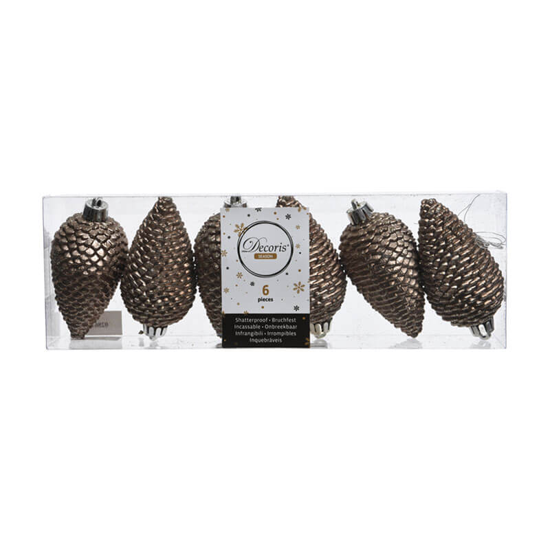 shatterproof brown pinecone decorations 6 per pack