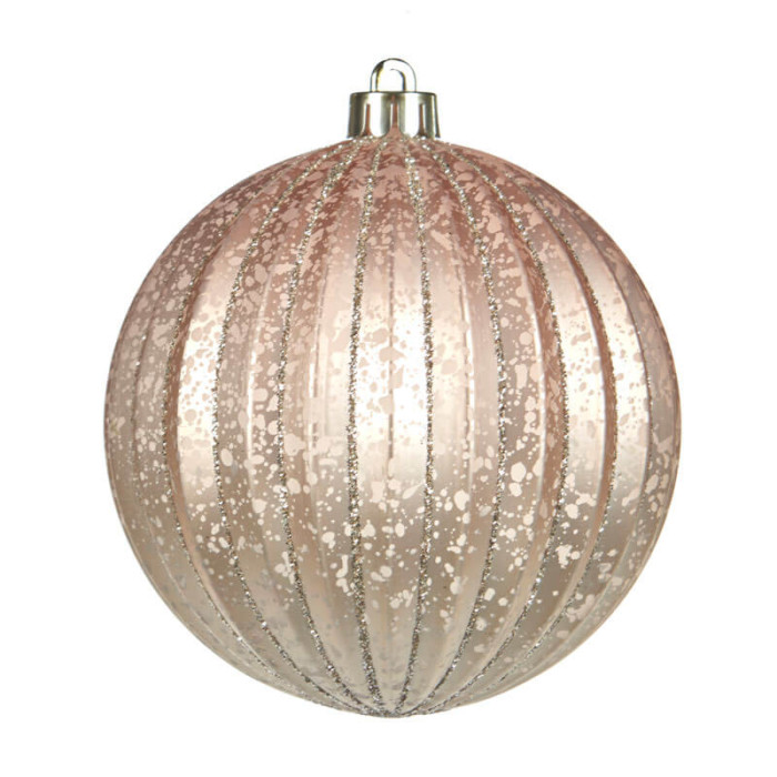 soft pink 8cm ribbed shatterproof bauble with fine lines of silver glitter