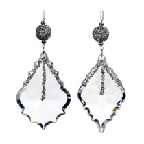 set of 2 clear acrylic drop ornaments 14cm long