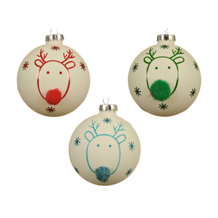 set of 3 white glass baubles each with a reindeer with pom pom node 8cm