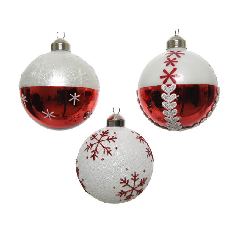 Set of 3 red and white glass baubles with 3 different designs 8cm