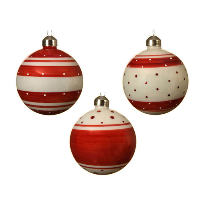 set of 3 red and white striped and spotted glass baubles 8cm