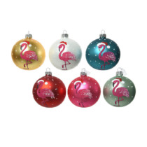 set of 6 glass baubles each in different colours with a hot pink flamingo on the front