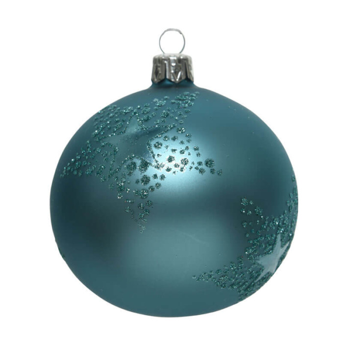 Glass-Bauble-with-star-decoration-in-glitter-Blue-Artic-Purely-Christmas-150014