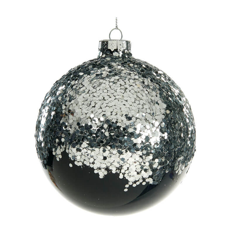 Glass-Glitter-top-Ball-Black-and-Silver-Purely-Christmas-P-33173