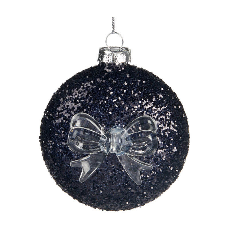 black glitter glass decoration with transparent bow on the front