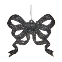 Glitter-Bow-Ornament-black-glitter-Purely-Christmas-PL-52233