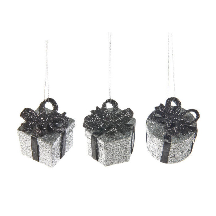 Set of 3 5cm silver glitter gift box shaped decorations