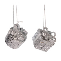 set of 2 5cm silver glitter present decorations with a bow on top
