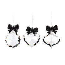 set of 3 acrylic crystal clear ornaments with black glitter bow 3 shapes 6cm