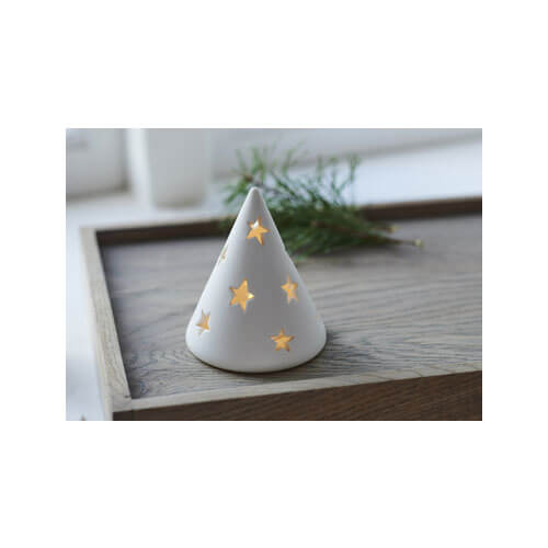 small white matte ceramic cone tree with star shaped holes