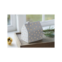 white ceramic LED small house with small stars cutout