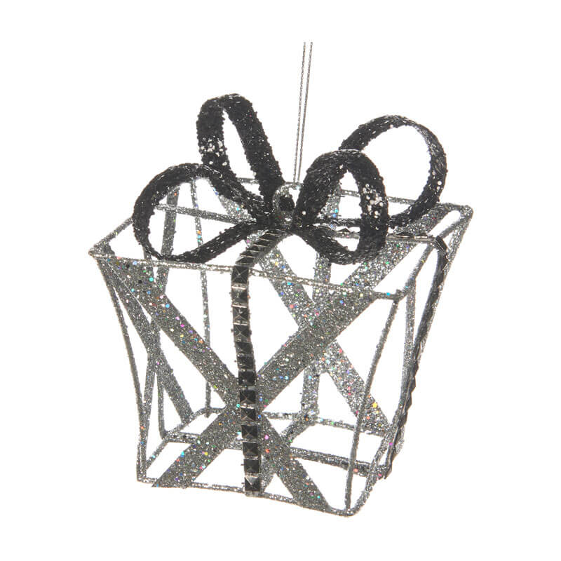 3D wire silver glittered gift box shaped ornament with black glittered bow 11cm high