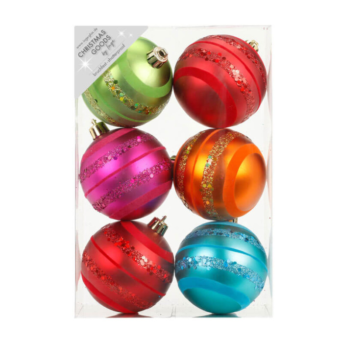 pack of 6 multi-coloured 8cm baubles with flock and glitter