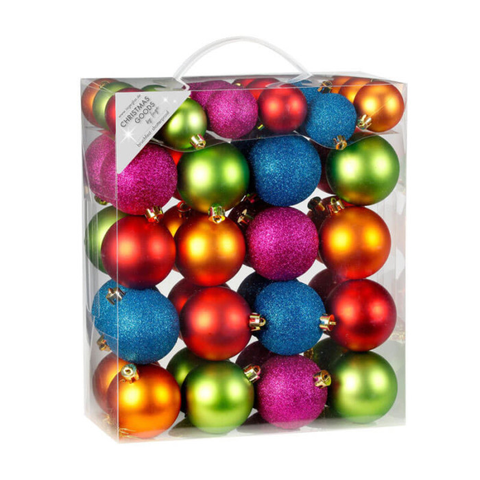 pack of 50 shatterproof bright coloured 4cm and 6 cm baubles