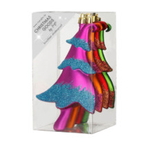 box of 4 bright coloured tree shaped shatterproof decorations