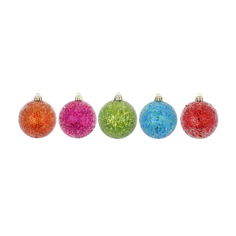Millie-Fiset of 5 -mixed-Colours-Inge-Shatterproof-Glitter-Balls-81166G080