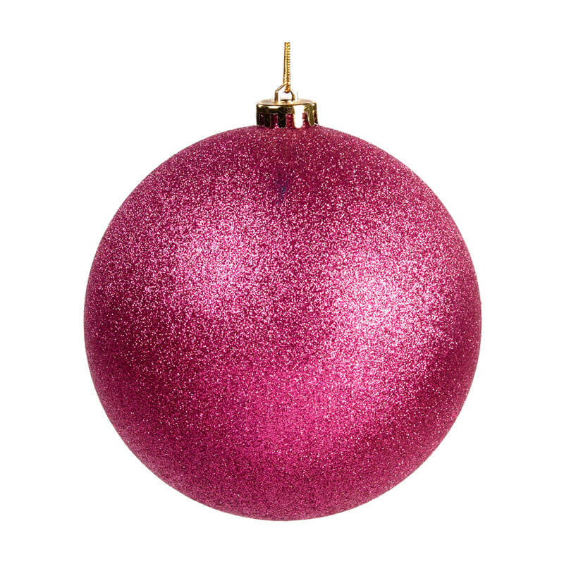 15cm pink glittered shatterproof bauble