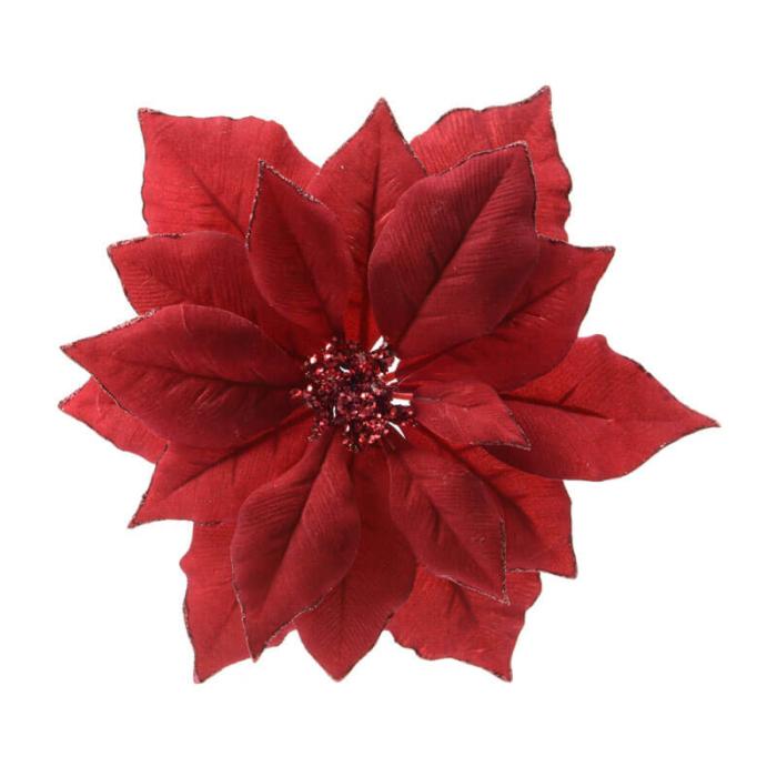 red velvet poinsettia on a clip 24cm