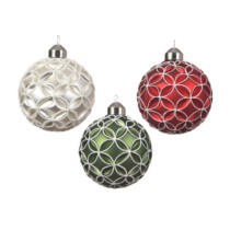 set of 3 glass baubles red, white and green with white flower pattern 8cm