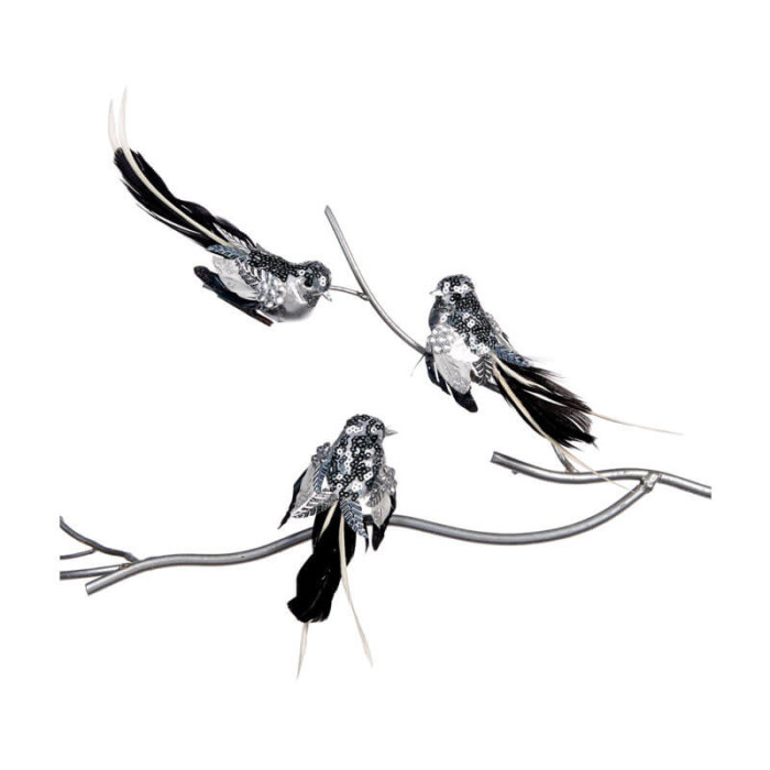 silver clip on birds with black feathered tail set of three on branch