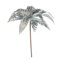silver poinsettia pick 25cm wide 65cm long