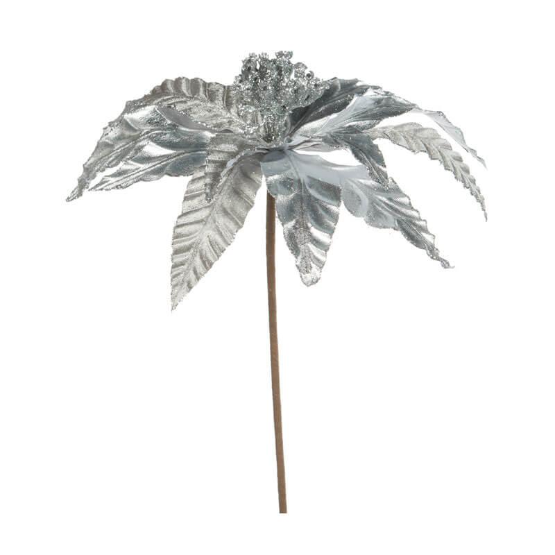 silver poinsettia pick 25cm wide 65cm long
