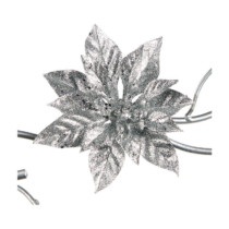 silver glittered poinsettia on a clip 15cm
