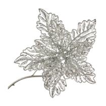 silver glittered poinsettia on a clip 23cm