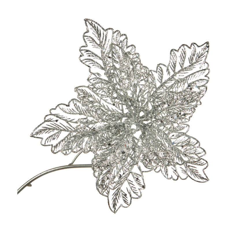 silver glittered poinsettia on a clip 23cm