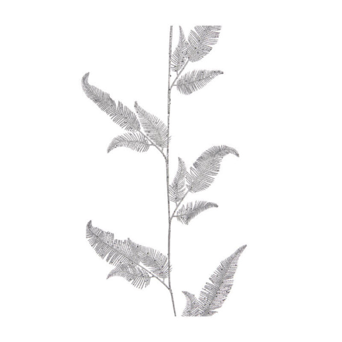 silver glitter garland 150cm long with feather-shaped leaves